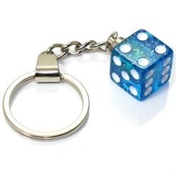 Clear Blue Glitter Dice Keychain