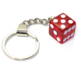 Clear Red Glitter Dice Keychain