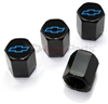 Chevrolet Blue Logo Black ABS Tire Valve Stem Caps