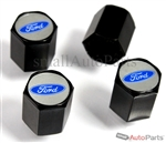 Ford Blue Logo Black ABS Tire Valve Stem Caps