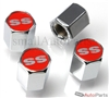 Chevrolet SS Red Logo Chrome ABS Tire Valve Stem Caps