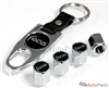 Ford Focus Black Logo Chrome ABS Tire Valve Stem Caps & Key Chain