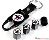Ford Mustang Logo Black ABS Tire Valve Stem Caps & Key Chain