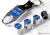 Chevrolet SS Blue Logo Chrome ABS Tire Valve Stem Caps & Key Chain