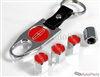 Lincoln Red Logo Chrome ABS Tire Valve Stem Caps & Key Chain