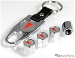 Pontiac Red Logo Chrome ABS Tire Valve Stem Caps & Key Chain