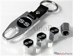 Chevrolet SS Black Logo Chrome ABS Tire Valve Stem Caps & Key Chain