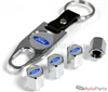 Ford Blue Logo Chrome ABS Tire Valve Stem Caps & Key Chain
