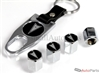 Pontiac Black Logo Chrome ABS Tire Valve Stem Caps & Key Chain