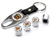 Cadillac Old Logo Chrome ABS Tire Valve Stem Caps & Key Chain