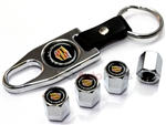 Cadillac New Gold Logo Chrome ABS Tire Valve Stem Caps & Key Chain