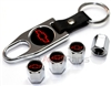 Chevrolet Red Logo Chrome ABS Tire Valve Stem Caps & Key Chain