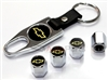 Chevrolet Yellow Logo Chrome ABS Tire Valve Stem Caps & Key Chain