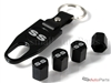 Chevrolet SS Silver Logo Black ABS Tire Valve Stem Caps & Key Chain
