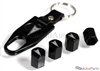 Pontiac Silver Logo Black ABS Tire Valve Stem Caps & Key Chain