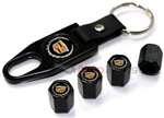 Cadillac New Logo Black ABS Tire Valve Stem Caps & Key Chain