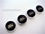 Ford Black Logo Chrome ABS License Plate Frame Screw Caps