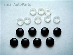 8 Black ABS License Plate Frame Screw Caps