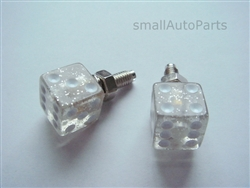 Clear Glitter Dice License Plate Frame Fasteners Bolts