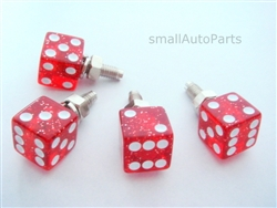 Clear Red Glitter Dice License Plate Frame Fasteners Bolts