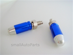 Blue Bullet Tip License Plate Frame Fasteners Bolts