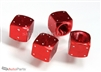 Red Aluminum Dice Tire Valve Stem Caps