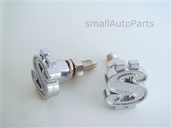 Chrome Dollar Sign License Plate Frame Fasteners Bolts