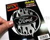Ford Flames Chrome Vinyl Sticker Decal