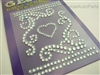 Swirly Heart Rhinestones Decal Sticker