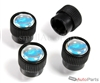 Chevy Mirror Blue Logo Black ABS Tire Stem Valve Caps