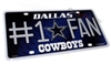 Dallas Cowboys #1 Fan NFL Aluminum License Plate Tag