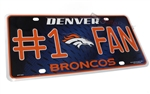 Denver Broncos #1 Fan NFL Aluminum License Plate Tag