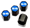 Chevrolet SS Blue Logo Black ABS Tire Valve Stem Caps