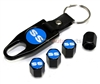 Chevrolet SS Blue Logo Black ABS Tire Valve Stem Caps & Key Chain