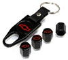 Chevrolet Red Logo Black ABS Tire Valve Stem Caps & Key Chain