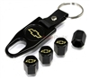 Chevrolet Yellow Logo Black ABS Tire Valve Stem Caps & Key Chain