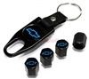 Chevrolet Blue Logo Black ABS Tire Valve Stem Caps & Key Chain