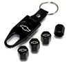 Chevrolet Silver Logo Black ABS Tire Valve Stem Caps & Key Chain