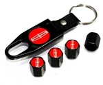 Lincoln Red Logo Black ABS Tire Valve Stem Caps & Key Chain