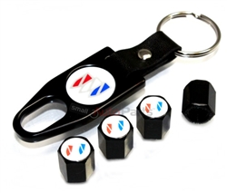 Buick White Logo Black ABS Tire Valve Stem Caps & Key Chain