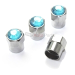 Blue Crystal Diamond Bling Tire Valve Stem Caps