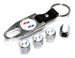 Buick White Logo Chrome ABS Tire Valve Stem Caps & Key Chain