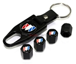 Buick Black Logo Black ABS Tire Valve Stem Caps & Key Chain