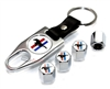 Ford Mustang Logo Chrome ABS Tire Valve Stem Caps & Key Chain