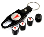 Pontiac Red Logo Black ABS Tire Valve Stem Caps & Key Chain