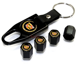 Cadillac Gold Logo Black ABS Tire Valve Stem Caps & Key Chain