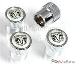 Dodge Logo Chrome ABS Tire Stem Valve Caps