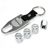 Pontiac GTO Silver Logo Chrome ABS Tire Valve Stem Caps & Key Chain