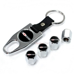 Chevrolet Corvette Z06 Logo Chrome ABS Tire Valve Stem Caps & Key Chain