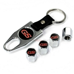 Buick GS Gran Sport Logo Chrome ABS Tire Valve Stem Caps & Key Chain